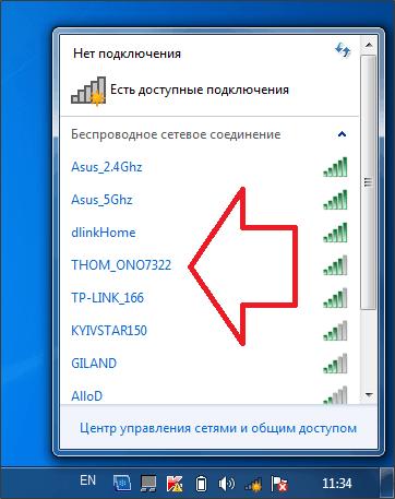 список доступных wifi сетей
