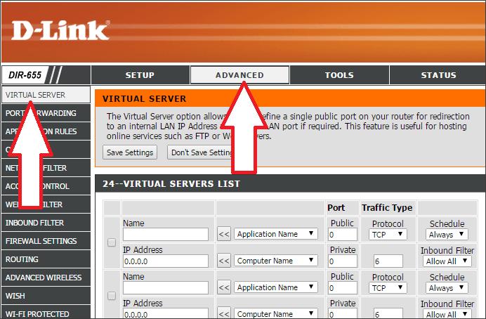 открываем раздел Advanced – Virtual Server