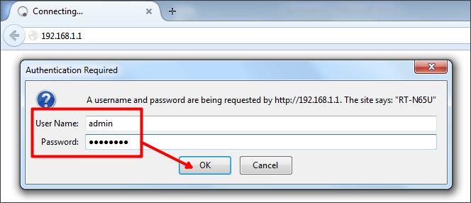 вводим логин и пароль для доступа к роутеру