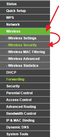 переходим в раздел настроек Wireless – Wireless Security