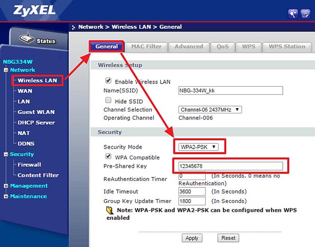 переходим в раздел Wireless LAN и меняем пароль