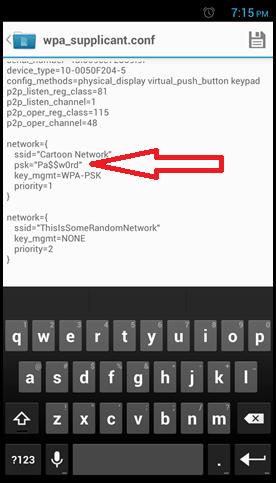 просматриваем пароли в файле wpa_supplicant.conf