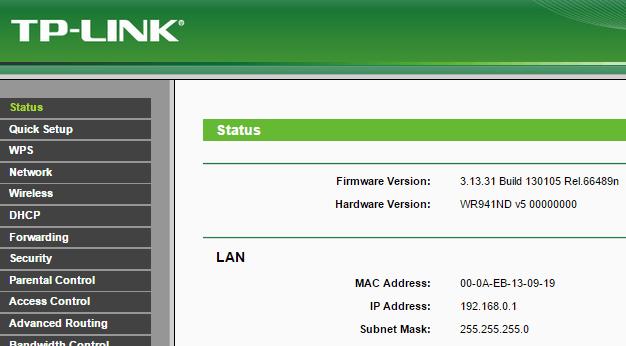 веб-интерфейс роутера tp-link