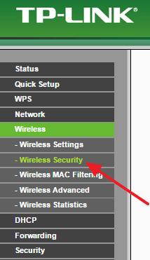 переходим в раздел Wireless Security