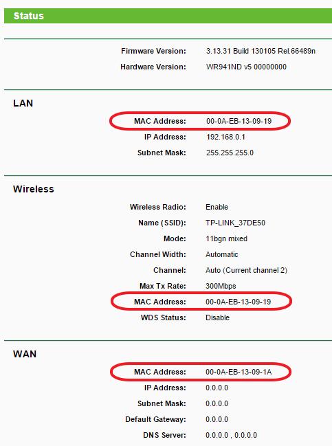МАК адрес роутера TP-LINK