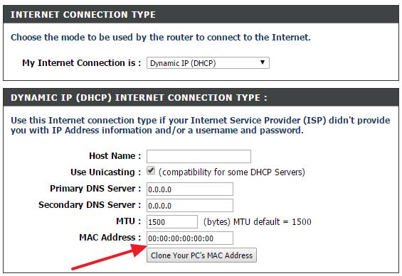 изменить MAC адрес роутера D-Link