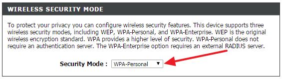 включите WPA-Personal
