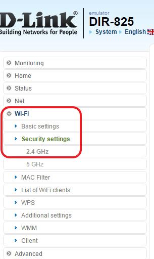 откройте раздел Wi-Fi – Security settings