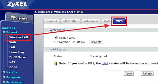 WPS в настройках ZyXel