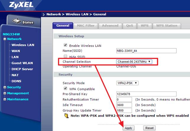 смена канала на роутере ZyXEL NBG334W